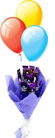 3 Air balloons 10 chocolates basket Card