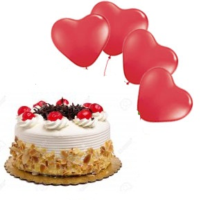 half kg butterscotch cake with 4 heart balloons and 2 roses