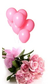 6 pink air balloons and 12 pink roses