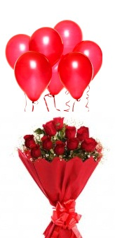 6 red air balloons and 12 red roses