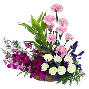 Orchids and other flowers in a basket