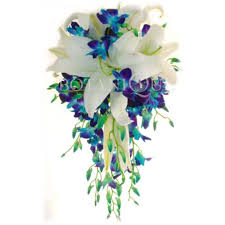 10 blue Orchids and 4 white lilies bouquet