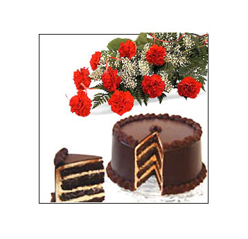 Carnations bouquet and half kilo chocolate cake
