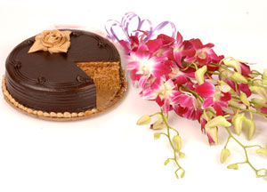 6 Orchids bunch and 1/2 kg chocolate cake