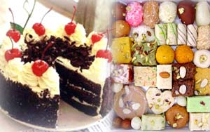 Black forest cake and half kilo mix mithai