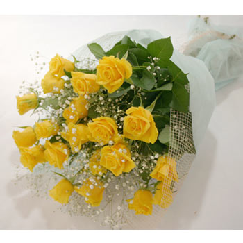 Yellow roses in a bouquet
