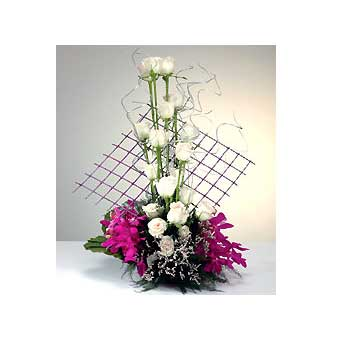 Orchids and roses arrangement