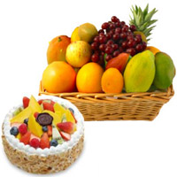Half Kg Fresh Fruit Cake with 2 Kg Fruits Basket