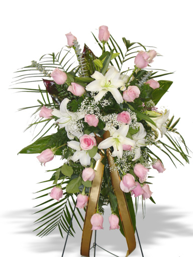 Pink white lilies arrangement