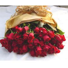 24 red roses hand bouquet