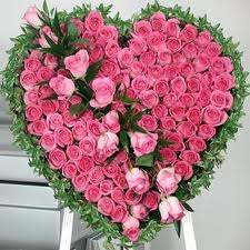 Pink heart with 100 roses