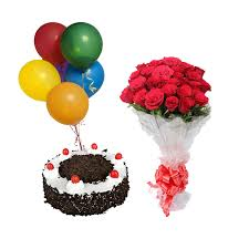 20 red roses hand tied with 6 air balloon and 1 kg black forest cake