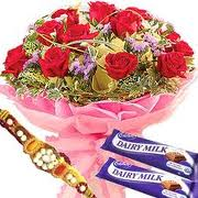 12 roses bouquet with 2 dairy milk and rakhi