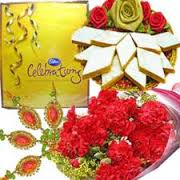 12 carnations 1/2 kg kaju katli celebration with rakhi.roli chawal